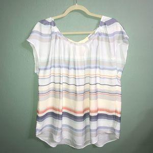 LC Lauren Conrad Blue White Striped Pleat Blouse
